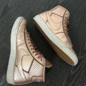 Nike Rose Gold Python Blazer High Top Sneakers - 6